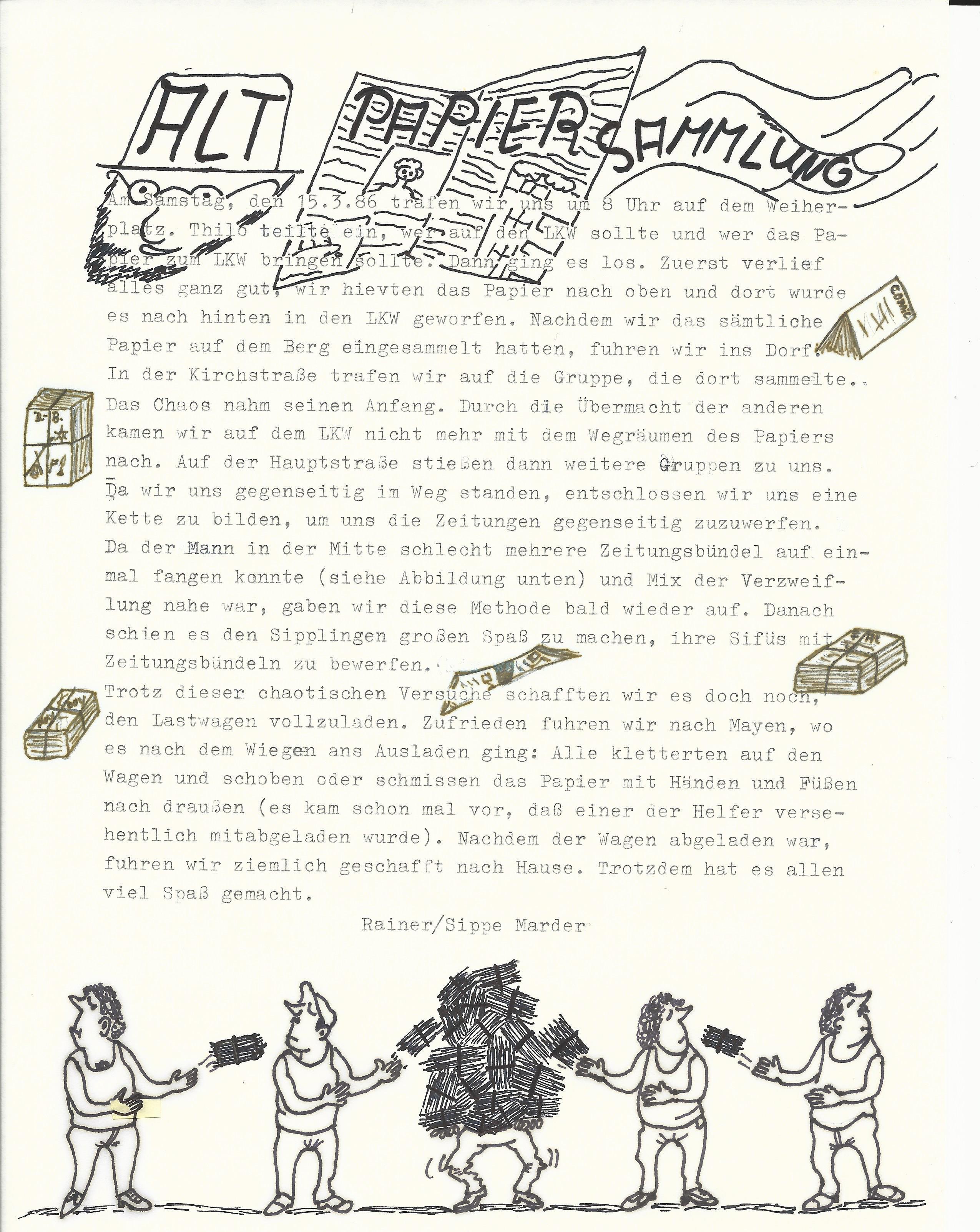 Altpapiersammlung 1986