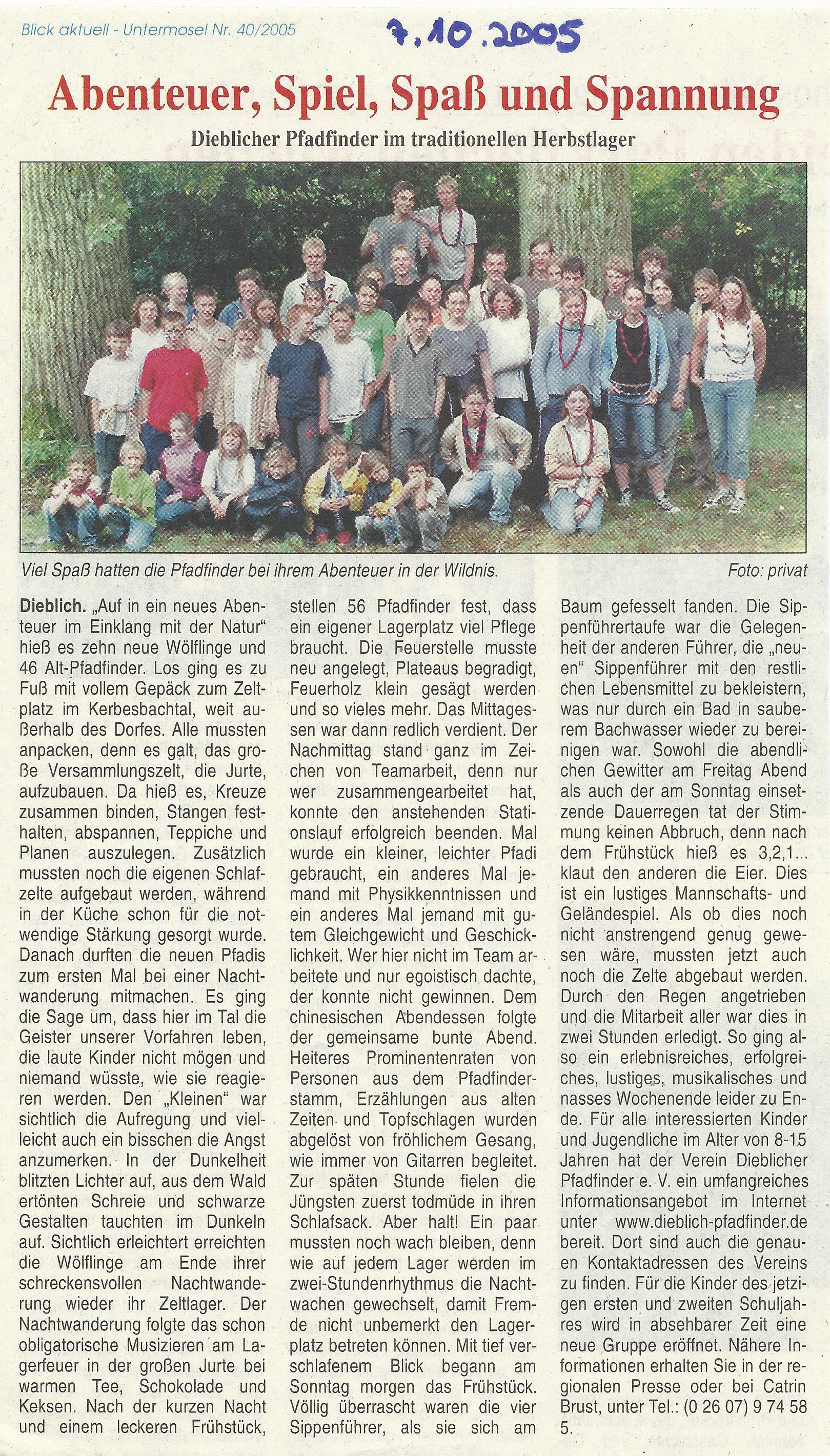 Pressebericht 2  Herbstlager 2005