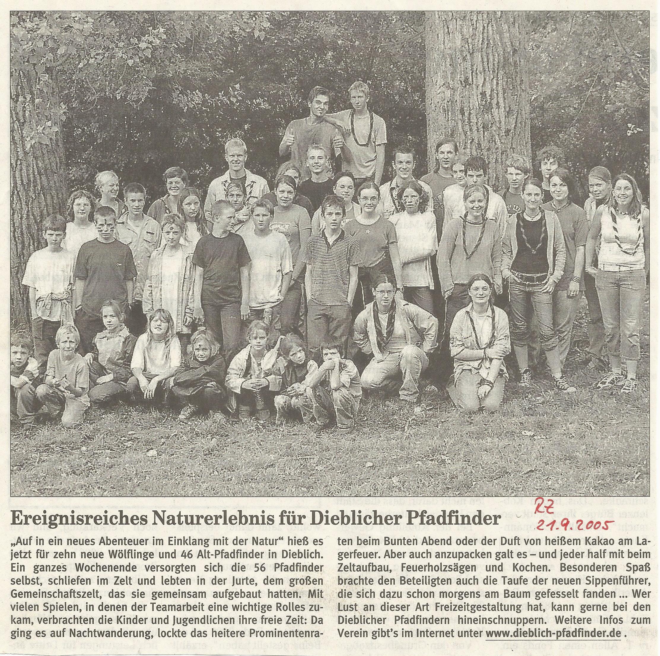 Pressebericht Herbstlager 2005