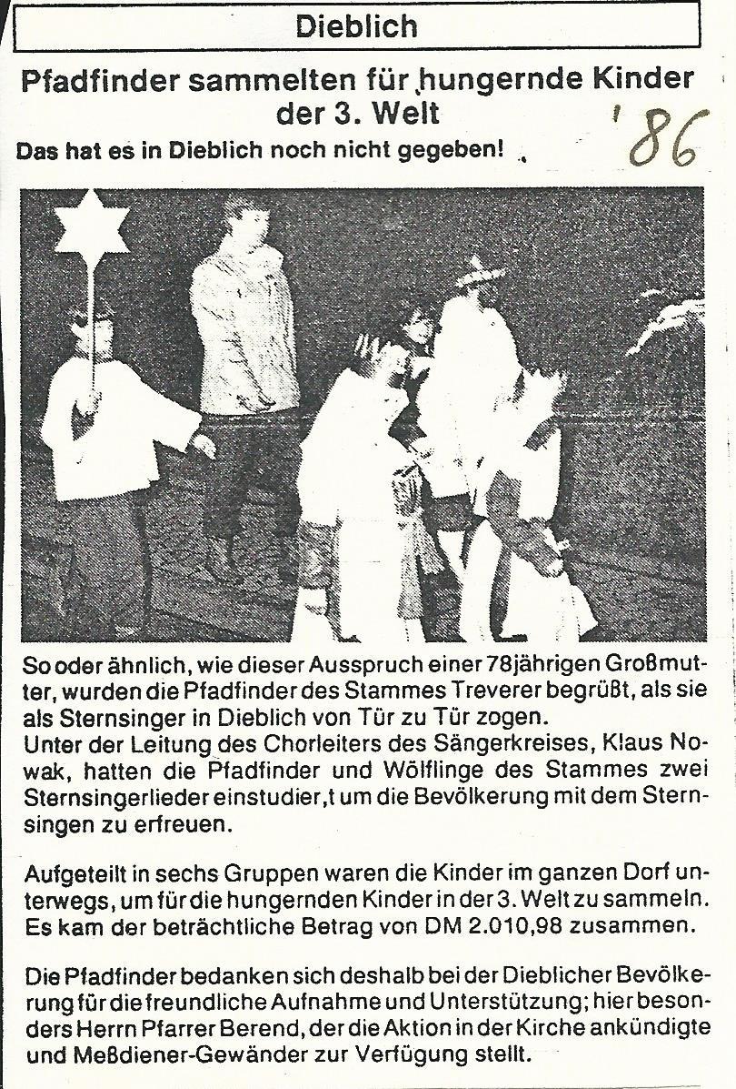 Sternsingeraktion 1986 (erste Aktion durch Pfadis)