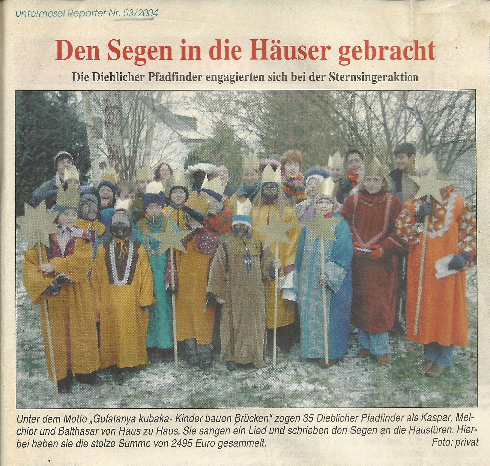 Sternsingeraktion 2004 Presse